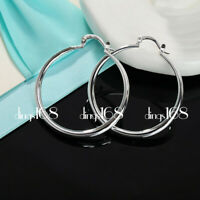 Women's Classic 925 Sterling Silver 1.5inch Medium Size Smooth Hoop Earrings H4R