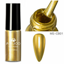 MSRUIOO 8ml Gold Metallic Nail Polish Mirror Effect Chrome Nail Art Varnish Tool