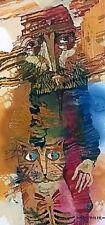 Old FIMA con un gatto/originale olio su cartone da Arturo hahonin/25x12cm