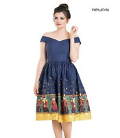 Hell Bunny 50s Dress Festive Christmas Xmas NUTCRACKER Blue Gold All Sizes