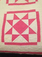 Sweet Vintage Hot Pink & White Quilt Star or Tulip Star Fresh Design