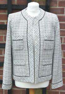 ANNE CARSON Ladies White Black Hook & Eye Long Sleeve Jacket Large Silk Blend