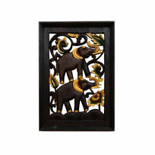 Wooden Hand Carved Picture of Elephants Wall Art Home Decor