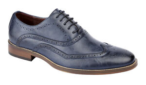 Leather Lined Navy Blue Brogues Formal Wedding Suit Shoes