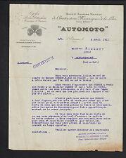 """SAINT-ETIENNE (42) USINE de CYCLES Pieces détachées """"AUTOMOTO"""" en 1911"""