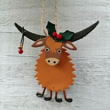 SMALL 'Highland Coo' Festive Cow Hanging Christmas Decoration by Shoeless Joe