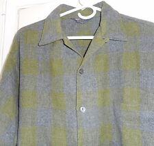 NOS 50s-60s SEARS Green Grey Shadow Plaid! Loop Collar Wool Blend ROCKABILLY XXL