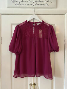 Billie and Blossom Top UK 16 Purple Short Bubble Sleeve Dorothy Perkins NEW