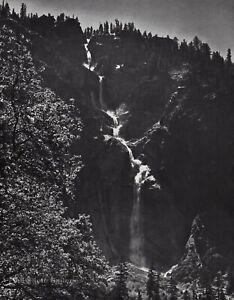 1959 Vintage ANSEL ADAMS Yosemite Valley Water Falls Landscape Photo Art 12X16