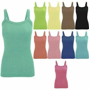 LADIES WOMEN'S SUMMER FITTED COTTON RIBBED ROUND NECK STRETCHY VEST TOP UK
