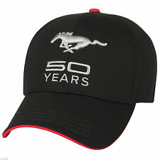 RARE NEW BLACK FORD MUSTANG 50TH ANNIVERSARY 50 YEARS 3D EMBROIDERED HAT/CAP!