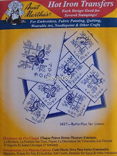 3437 Aunt Martha's Hot Iron On Transfers BUTTERFLIES FOR LINENS Embroidery