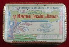 rare & ancienne boite Pharmacie Pastilles de menthol cocaïne & borate