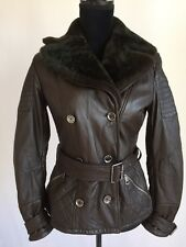 Burberry Damen Shearling Leder Flieger Fell Jacke Mantel US4 klein
