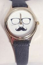 Women Fashion Moustache Watch Black Faux Leather Band Gold Case White Face New