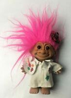 "Vintage Russ 5"" Troll Doll - Artist Painter - Smock Palette & Beret - Pink Hair"