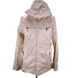 Burton Snowboard Ski Snow Hooded Jacket Size M Cream Boho Floral Print