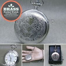 SILVER Solid Brass Antique Mens Fashion Pocket Watch Fob Chain Gift Box P272