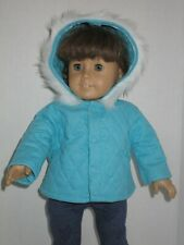 """Light Teal Quilted Winter Coat for 18"""" Doll Clothes American Girl"""