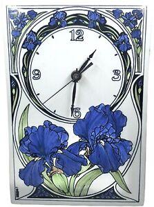 "Vintage Santa Barbara Ceramic Design Tile Wall Clock Purple IRIS Flowers 12"""