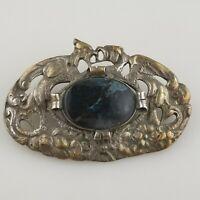 VTG Antique Art Nouveau Victorian 800 Silver Italy Figural Birds Sash Pin Brooch
