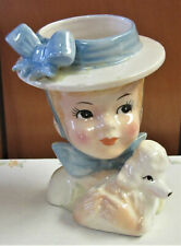 Lovely Mid-Century INARCO Head Vase, Teen Girl w. Poodle, AS IS, Made in Japan