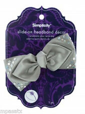Grey Satin Bow with Sequins Slide-On Headband Accent