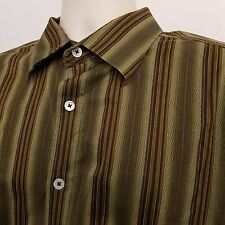 Indigo Palms Button Down Shirt Mens XL Extra Large Green Striped Long Sleeve
