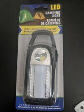 2-in-1 LED Camping Light Handheld Flashlight w Hangable Clip Hook Folding Stand