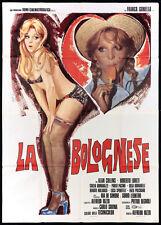 LA BOLOGNESE MANIFESTO CINEMA FILM EROTICO SEXY AVELLI 1975 USED MOVIE POSTER 4F