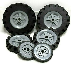 Genuine K'NEX Parts Lot of 6 Assorted Size Wheels/Tires Replacement Parts K-5