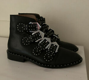 Givenchy Black Leather Studded Buckle Booties Sz 36 Made In Italy