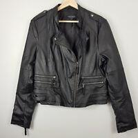JUST JEANS | Womens Black Faux Leather Biker Jacket  [ Size AU 14 ]