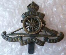 Badge- WW2 Royal Artillery Cap Badge Spinning Wheel KC (BRONZE ,Org*) RARE