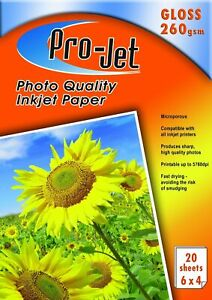 Pro-Jet 6x4 Photo Paper 260gsm Gloss Finish Packs of 20