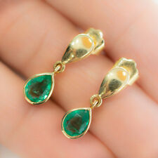 18K Yellow Gold Pear Cut Colombian Emerald Dangling Earrings