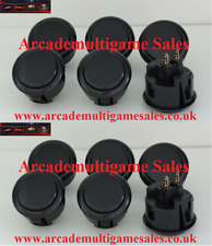 12 Black Sanwa OBSF30 arcade buttons