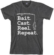 Threadrock Men's Bait Cast Reel Repeat T-shirt Funny Fishing