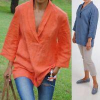 Summer Womens 3/4 Sleeve V Neck Tops Casual Plain Blouse Shirt Tunic Plus Size