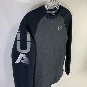 Under Armour Sweatshirt Youth Medium Grey Navy ColdGear Pullover Girl Boy Unisex