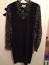Womens Black Dress Next Knitted Dress Size 12UK Long Sleeve Dress