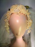 Vintage WAX PEARLS & GLASS FLOWERS BRIDAL HEADPIECE, Tulle Veil & Cross-Lasso!!