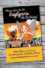 Fairy Halloween Birthday Party Invitation Girl Costume Orange Black Cat Princess