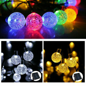 50 LED Retro Bulb String Lights Solar Powered Garden Outdoor Fairy Summer Lamp