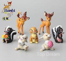 7X Cartoon Bambi and Friends Thumper Flower PVC Figure Cake Topper Play Set NEW