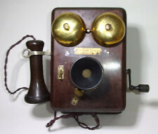 More details for vintage british sterling wooden wall telephone,  magneto, twin bells ringing!