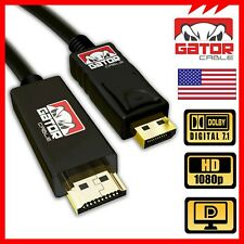 Display Port to HDMI Cable Cord Adapter Audio Video PC HDTV 1080P 60Hz 18Gbp 6FT