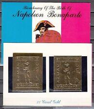 Ajman, Mi cat. 505 A-B. Napoleon Bonaparte Gold Foils in Souvenir Folder.