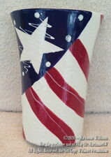 New Fourth 4Th Of July Patriotic Wall Vase Red White & Blue Stars Americana