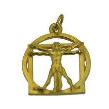 Leonardo Da Vinci code Vitruvian Man Charm Real 10K Gold L'Uomo Jewerly New
